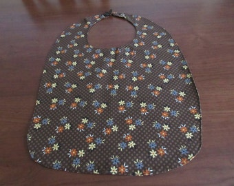 Handmade Colorful Brown Floral Adult Bib with Snap