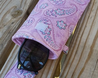 Eye Glass Case, Phone Case, Clip on, Pink, Paisley, Sun Glasses Case