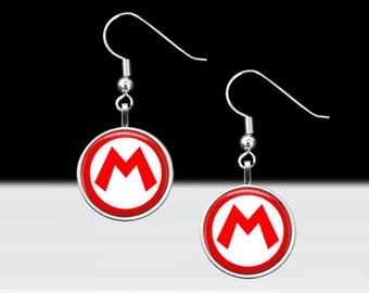 Mario Earrings -Super Mario Brothers, Nintendo Game, Gamer Girl, Nerd, Geek, Geekery, Punk, Dork Pride! Jewelry - 16mm Silver & Glass Dangle