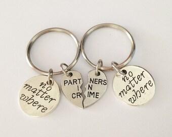 set 2 no matter where keychain - partner in crime keychain - heart keychain - girlfriend gift - friendship keychain