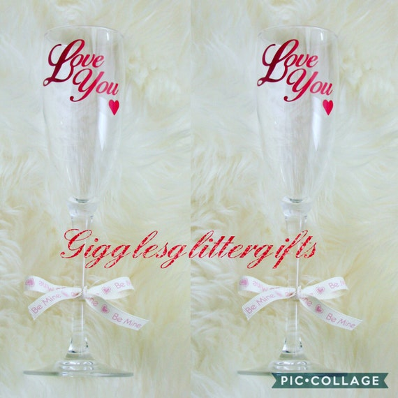 Beautiful set of two love you glass champagne flutes lovely valentines set