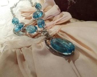 Vintage necklace vintage blue necklace vintage beaded necklace vintage art deco vintage jewelry unique jewelry beautiful necklace