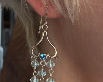 Sterling Silver Blue Topaz Aquamarine Pierced Dangle Earrings, Raw Stone Style, Boho Chic Earrings ERG1010