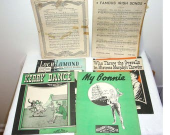 Vintage Irish sheet music. Lot of (6) sheet music with great graphics. Kerry Dance, My Bonnie, Loch Lamond and more. Most are in good shape.