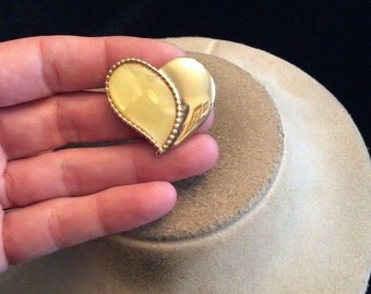 Vintage Goldtone & Yellow Enameled Heart Pin