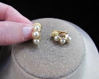 Vintage Pair Of Goldtone Faux Pearl Clip Earrings