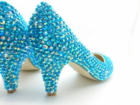 Turquoise Wedding Heels: Bridal Shoes Turquoise Blue Low Mid Heels Bridesmaid
