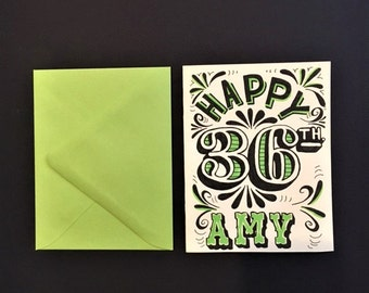 green black and white hand lettered customized happy birthday card