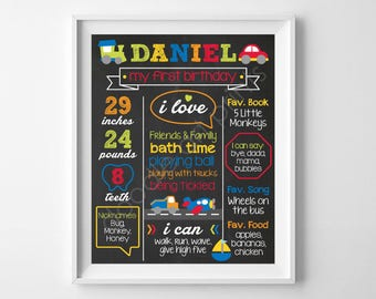 First Birthday Chalkboard Poster Sign, Baby Boy Transportation, Trucks, Cars, 1st Birthday Board, Personalized Printable, Photo Prop