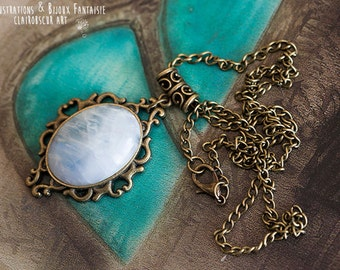 Moonstone - pattern Art Angel pendant
