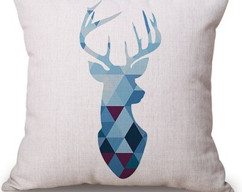 Deer Pillow, Antler Pillow, Animal Pillow, Pillow Case, Deer, Antlers