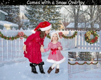 DIGITAL Christmas background, backdrop, snowy fence, for photographers, photography, photos