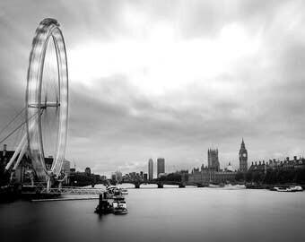 London Eye Westminster Digital Print - London Digital Print, Black and White Digital Print - London Printable Art