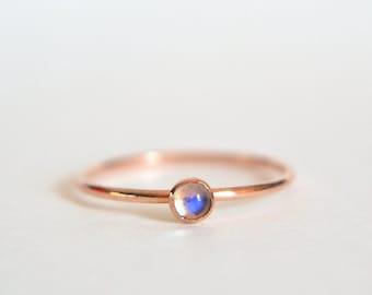 14k Solid ROSE Gold Ring, Rose Gold Moonstone Ring, Moonstone Ring Rose Gold, Pink Gold Ring, Stacking Ring, Stackable Ring