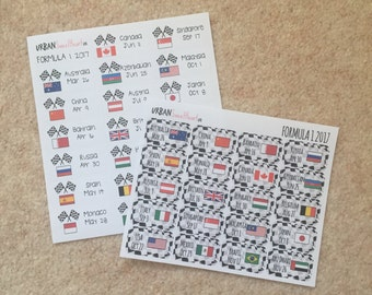 Set of 20 Formula 1 2017 Grand Prix Planner Stickers