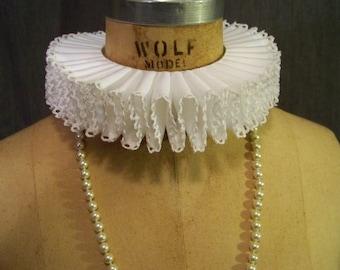 Neck Ruff Elizabethan Custom Renaissance Ribbon Cotton Cluny Lace ECW