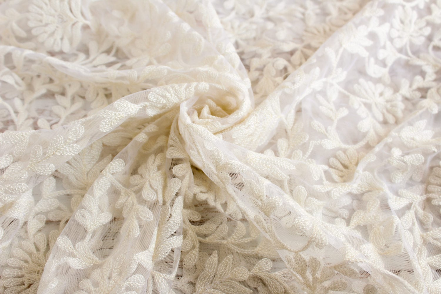 Yard of white net fabric with embroidery boho