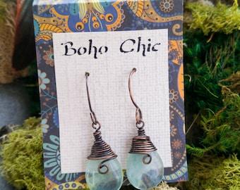 Green Fluorite Drop Earrings // Wire Wrapped Copper gypsy inspired boho jewelry
