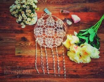 Boho Vintage Dream Catcher Natural Eco Vines Real Beach Boho Hippie Gypsy Love Beige Cream Magic Wedding Decor Doily Crochet Byron Bay
