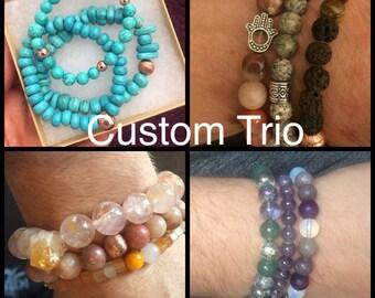 Custom Bracelet Trio made with Natural Healing Stones