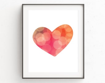 Printable Womens Gift, Girlfriend Gift, Gift for Her Printable, Love Wall Art, Heart, Art Print, Print at Home, Anniversary Gift, Pink Art