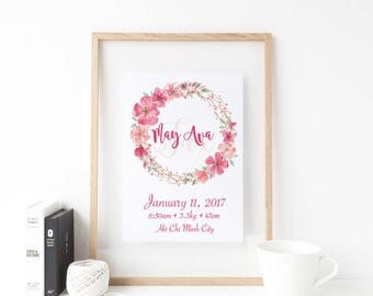 Baby Name & Birth details FRAMED Print CHEERY BLOSSOM