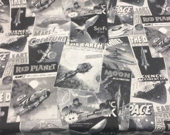 Galactic Red planet Spaceships Monotone Cotton Fabric By the yard Multipurpose