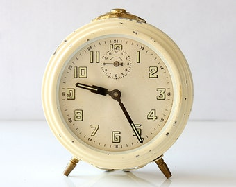 Vintage retro alarm clock Wind up desk clock German mechanical clock Old cream white table clock Working Mid century modern home decor