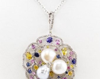 14K Diamond Sapphire Pearl Pendant White Gold Multi-Color Sapphire