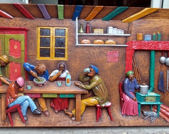 Table colorful carved wood / gouache and varnish / scene Inn Cottage / old / retirees / campaign traditional popular village
