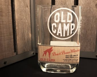 Recycled Old Camp Peach Pecan Whiskey Bottle Candle