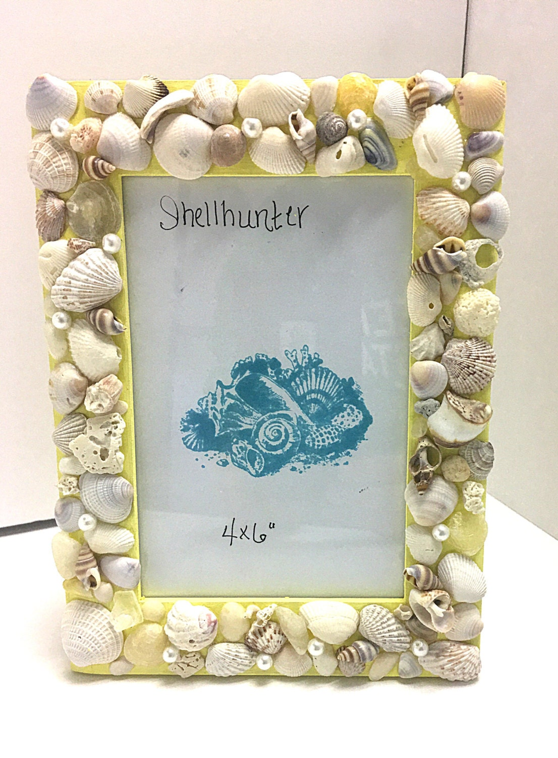 Yellow 4 by 6 seashell picture frame seashells and for Bathroom decor picture frames