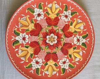Vintage Hand Painted Floral Wood Folk Art Wall Hanging Plate
