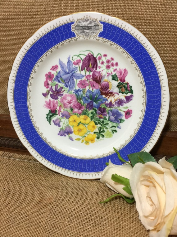 "RHS 1991 Chelsea Flower Show Fine Bone China Plate by ROYAL CHELSEA - ""Alpine Glory"" 9"" Decorative Plate - Vintage English Cabinet Plate"