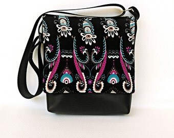 Boho purple blue pattern flap on black messenger vegan faux leather messenger vinyl cross body crossbody bag handbag