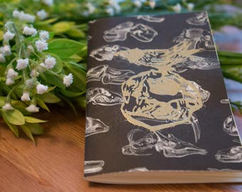 Gold and Charcoal Skeleton Cat Skull & Crow Journal