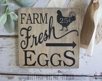 FARM FRESH EGGS Sign, Vintage style Farm Fresh eggs Sign, Farm Fresh eggs, Chicken Signs, Chicken Coop, Chicken Decor, Farmhouse Decor