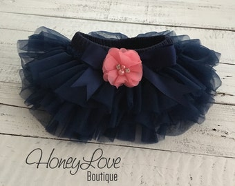 Navy Blue tutu skirt bloomers diaper cover, embellished Coral Pink pearl flower, ruffles all around newborn infant toddler little baby girl