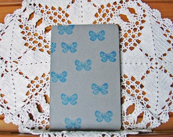 Moleskine Cahier Journal-Pebble Grey with Hand-Stamped Blue Butterflies