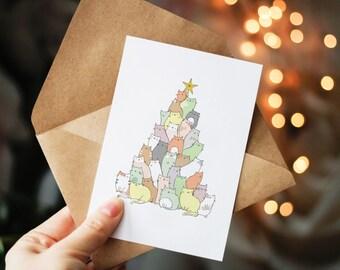 Cat Christmas Card, funny christmas card, christmas tree, cute christmas card, original christmas card