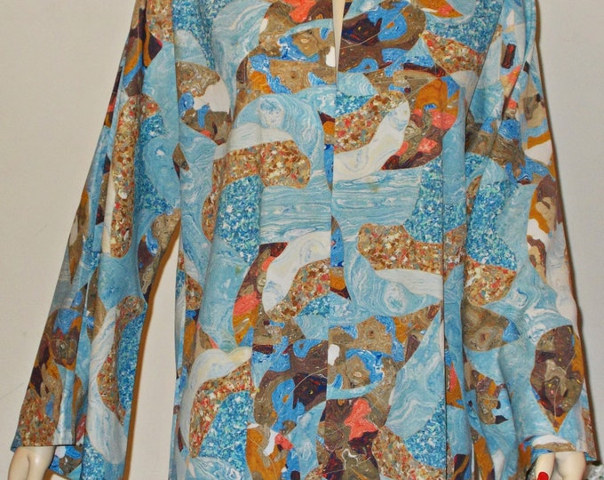 Vintage 60s Hippie Caftan Blue Brown Polyester Psychedelic Bohemian Unisex Handmade Pullover Kaftan Long Sleeve Full Length Maxi Tunic Dress