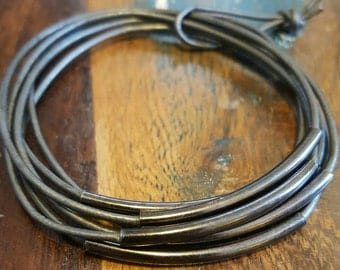 Grey and Gun Metal Leather Cord Bangles, Leather Bangles, set of 6