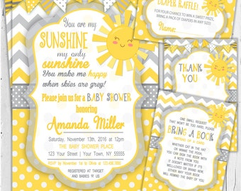 You are my sunshine Baby Shower Invitation  / Baby Shower Invitation