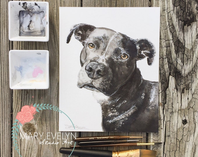 Featured listing image: Whimsical Custom Watercolor Pet Portrait