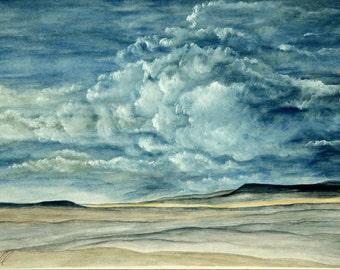Desert watercolor, Southwest watercolor painting, Desert Night watercolor painting, Original watercolor southwest painting, 11 x 14 inches