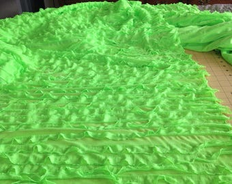 Neon Green Ruffle Fabric