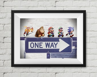 Retro Gaming Super Mario Luigi Donkey Kong Sonic the Hedgehog & Tails Nintendo Sega 16-Bit A4 Print