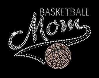Basketball Mom on Ladies Scoop Neck Tee with Rhinestones