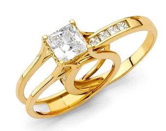 2 Ct Princess Cut 2 Piece Engagement Wedding Ring Band Set 14K Solid Yellow Gold Cubic Zirconia Bridal Ring Set With Wedding Band