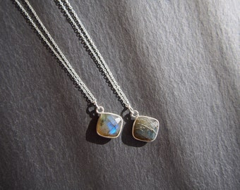 Labradorite Necklace // Dark green Stone Necklace